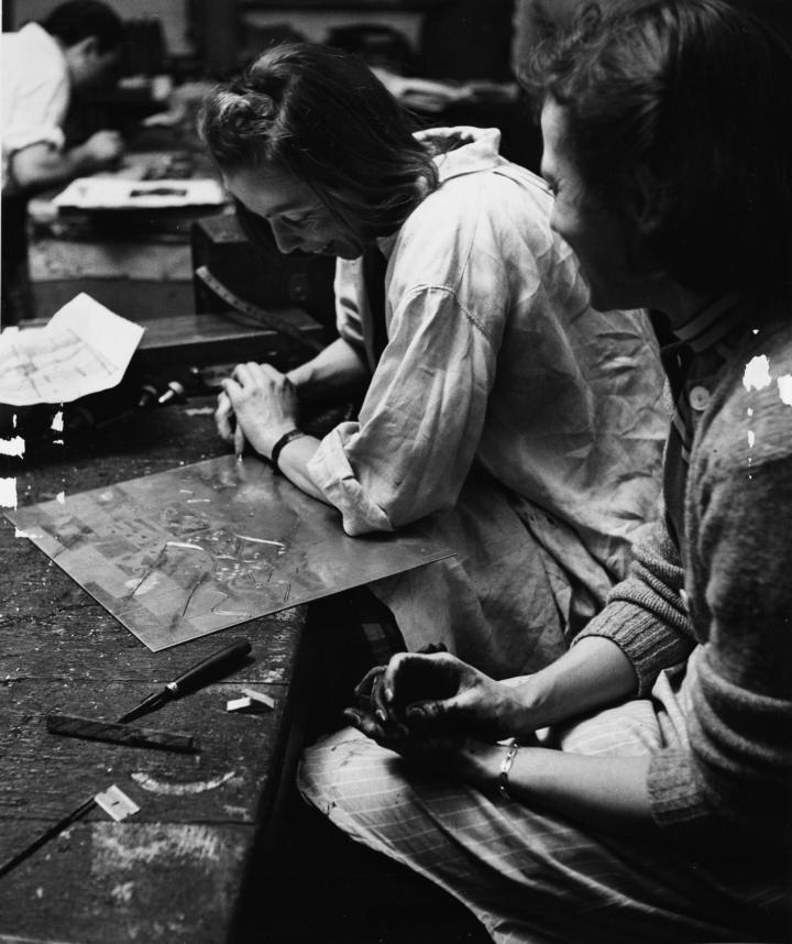 Fannie Engraves A Copper Plate